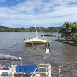 Boats capsized after hurricane Otto