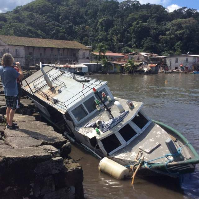 Portobello - boat capsized after hurricane Otto